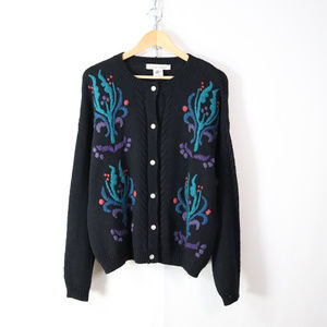 vintage embroidered wool cardigan sweater M